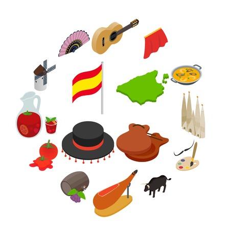 Spain isometric 3d icons isolated on white background Illustration