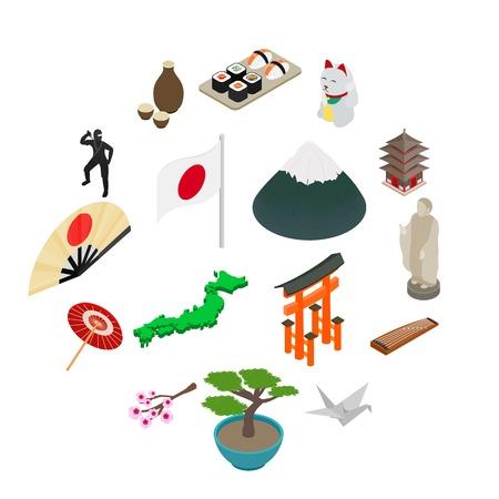 Japan isometric 3d icons set isolated on white background Vektorové ilustrace