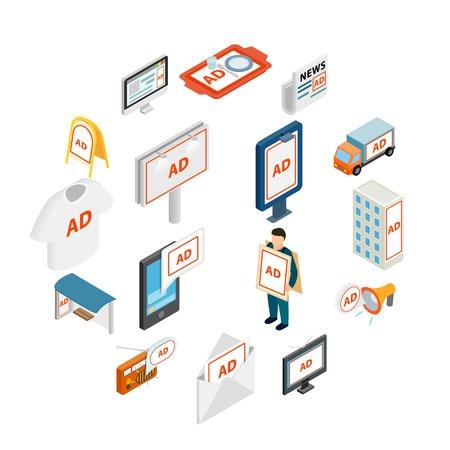 Advertisement icons set in isometric 3d style Illusztráció