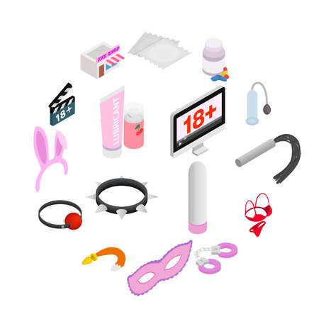Sex icons, isometric 3d style isolated on white