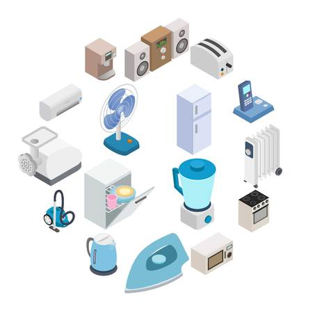 Home appliances icons in isometric 3d style isolated on white
