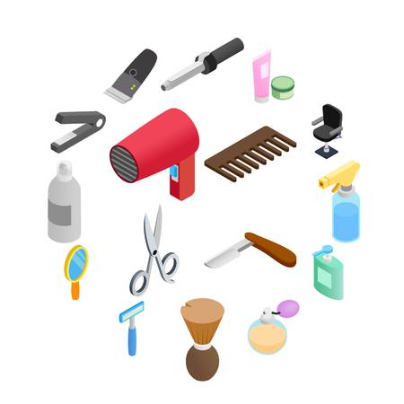 Barber shop isometric 3d icons. Hairdresser set isolated on white background Illusztráció