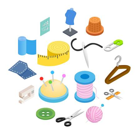 Sewing isometric 3d icon isolated on white background