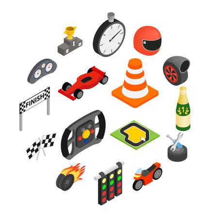 Isometrische 3D-Ikonen des Autorennens gesetzt. Illustrationen isoliert auf einem Weiß Vektorgrafik