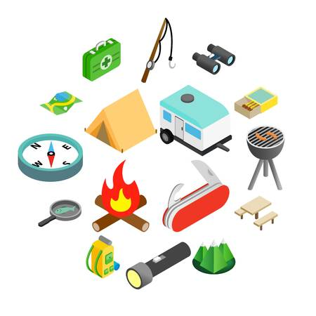 Camping isometric 3d icons set isolated on white background