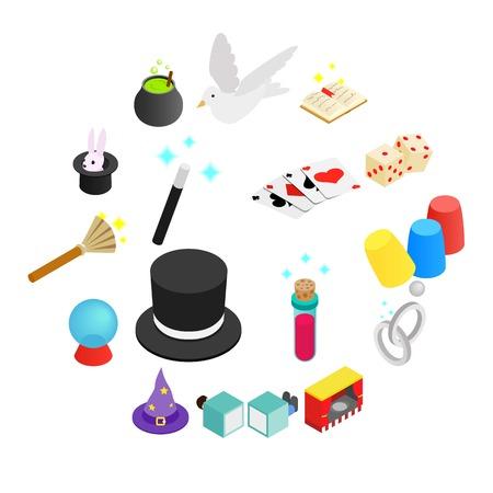 Magic isometric 3d icon isolated on white background Illusztráció