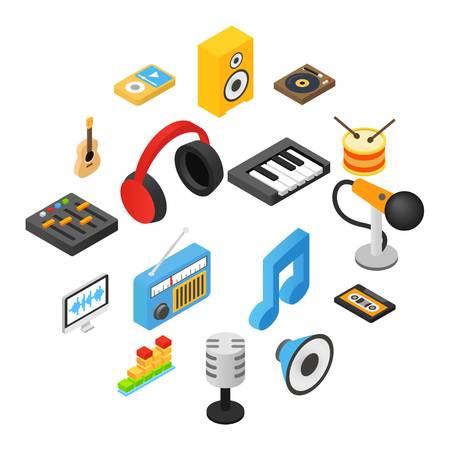 Music isometric 3d icons set isolated on white background