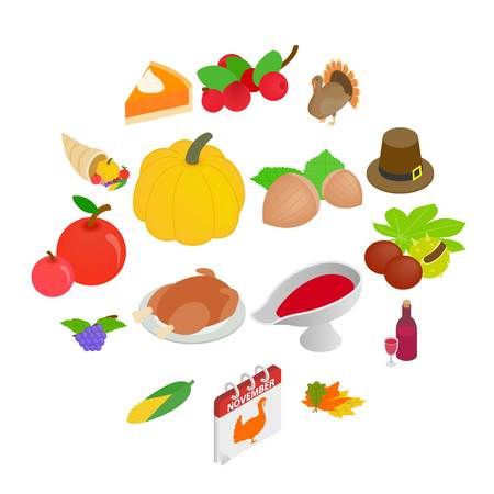 Thanksgiving day isometric 3d icons set isolated on white background