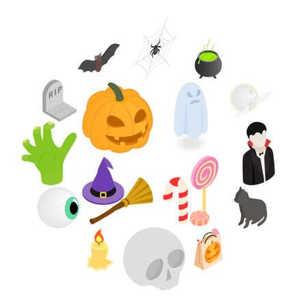 Halloween isometric 3d icons set isolated on white background