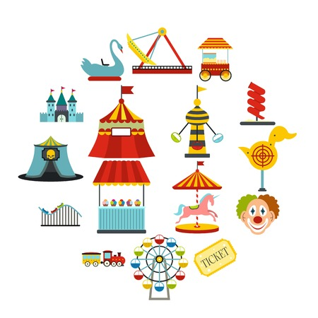 Amusement park flat icons set isolated on white background