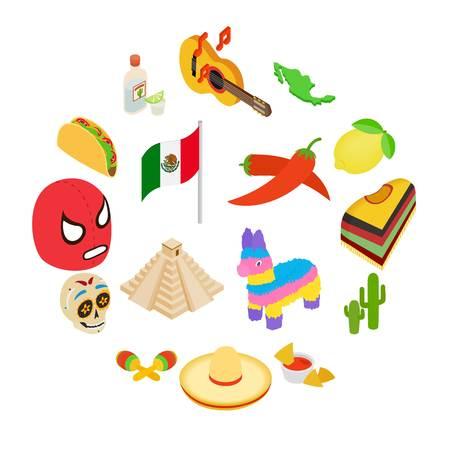 Mexico isometric 3d icons set isolated on white background