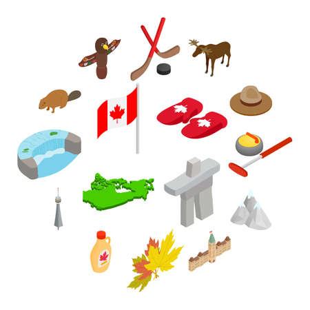 Canada isometric 3d icons set isolated on white background