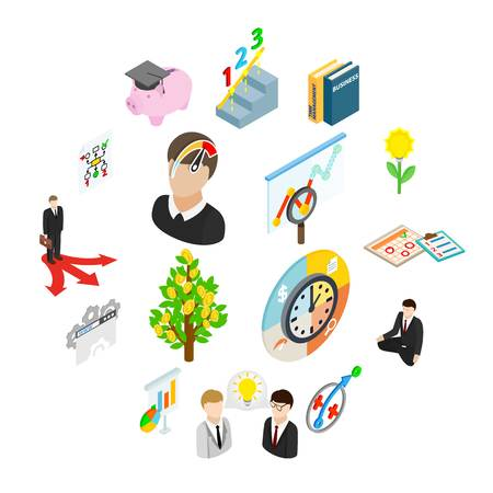 Business planning icons set in isometric 3d style isolated on white