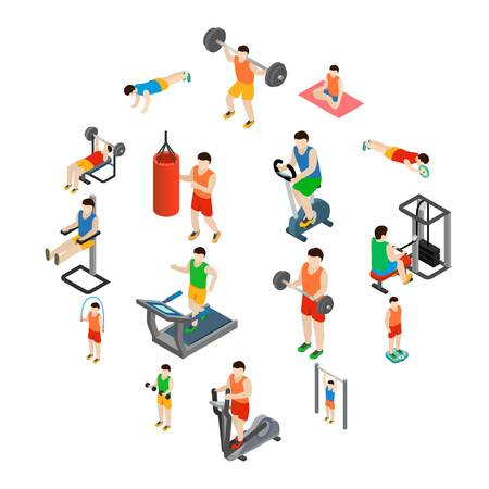 Gym icons set in isometric 3d style isolated on white background