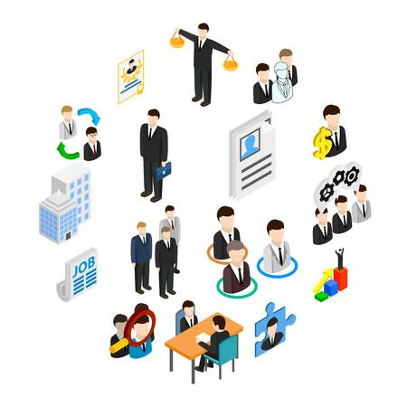 Human resources icons set in isometric 3d style isolated on white Illusztráció