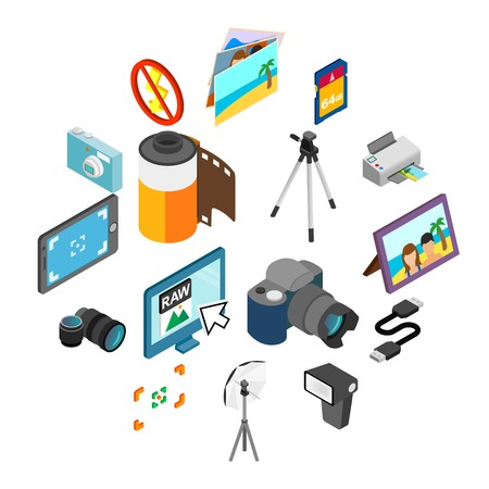 Photography icons set in isometric 3d style isolated on white