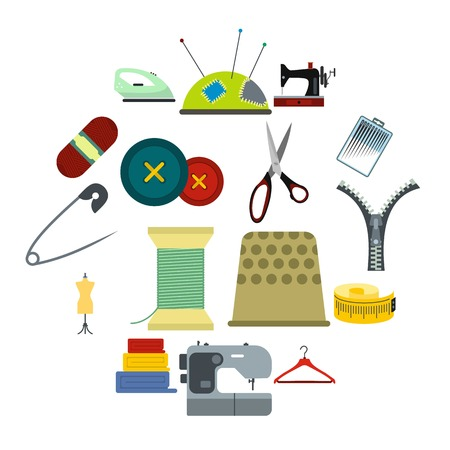Sewing flat icon for web and mobile devices