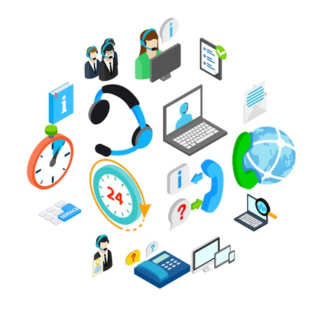 Computer service icons set in isometric 3d style isolated on white Illusztráció
