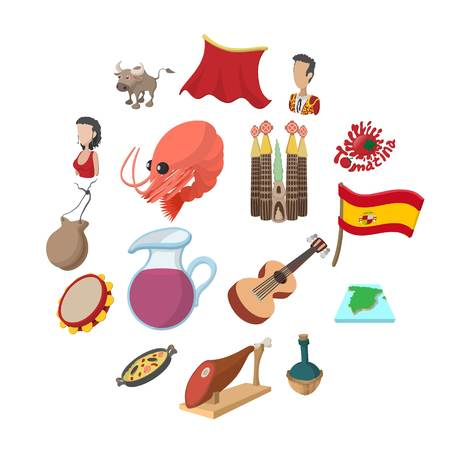 Spain icons in cartoon style for web and mobile devices