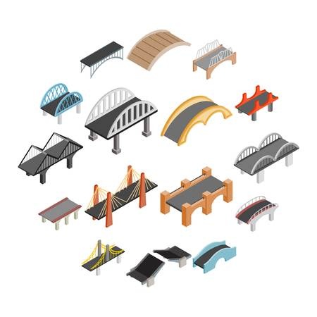 Bridge set icons in isometric 3d style isolated on white background