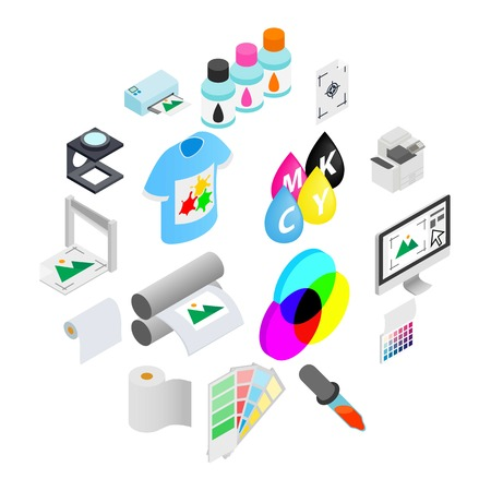 Printing icons set in isometric 3d style on a white background