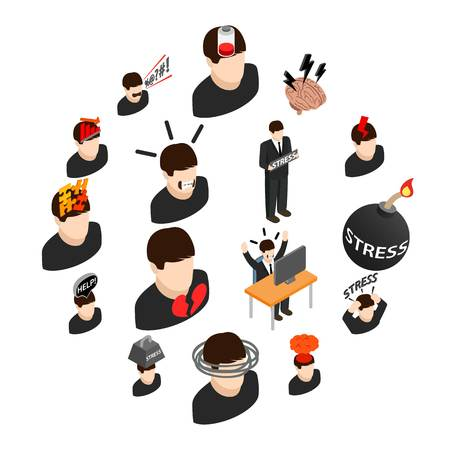 Stress icons in isometric 3d style on a white background Illusztráció