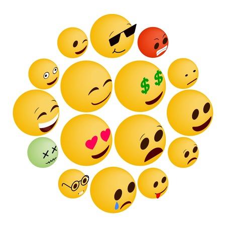 Emoticon icons set in isometric 3d style on a white background Illusztráció