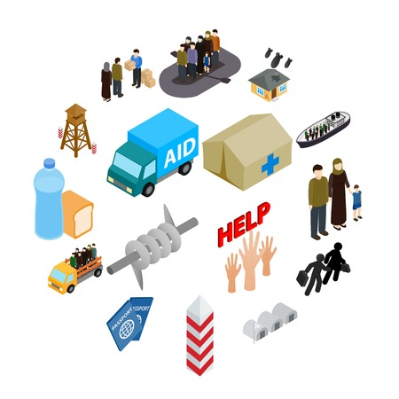 Refugees icons set in isometric 3d style on a white background