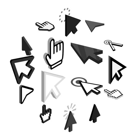 Mouse pointer icons set in isometric 3d style on a white background