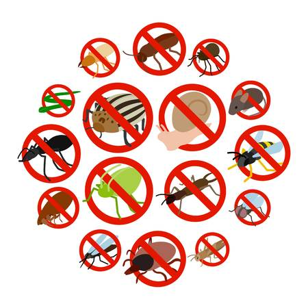 No insect sign icons set in isometric 3d style on a white background Ilustração