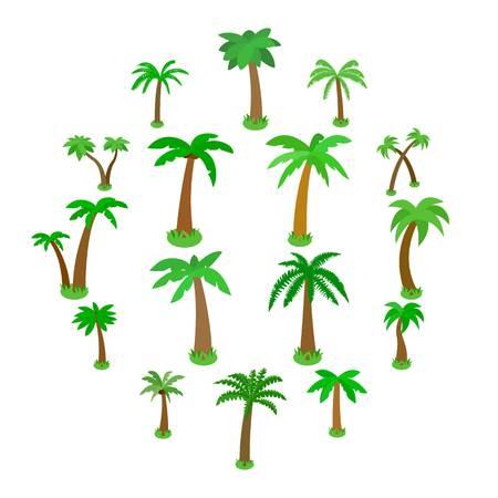 Palm tree icons set in isometric 3d style isolated on white Illusztráció