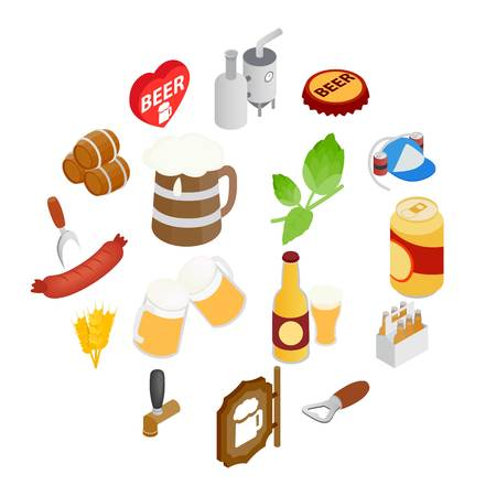 Beer icons set in isometric 3d style isolated on white