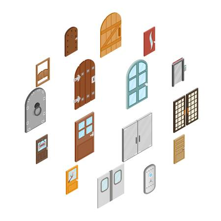 Doors icons set in isometric 3d style isolated on white background