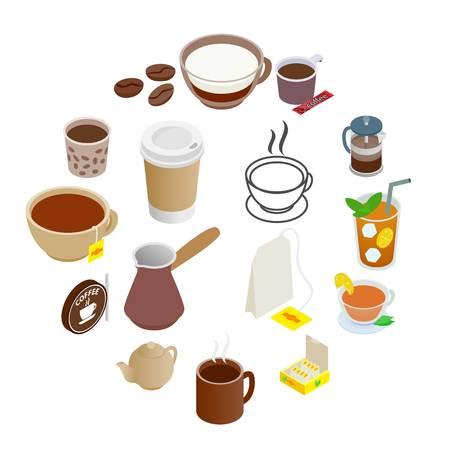 Tee- und Kaffeesymbole im isometrischen 3D-Stil isoliert auf weiß on