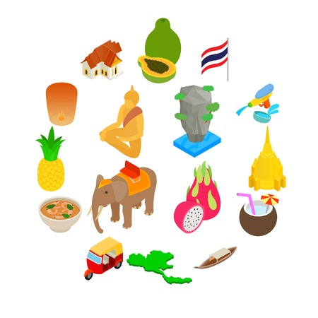 Thailand icons set in isometric 3d style on a white background