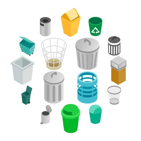 Trash can icons set in isometric 3d style on a white background