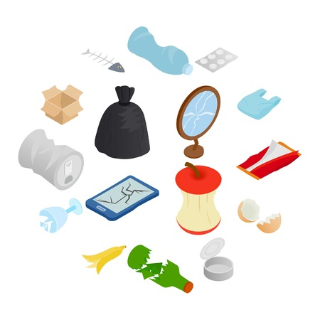Waste and garbage for recycling icons set in isometric 3d style on a white background