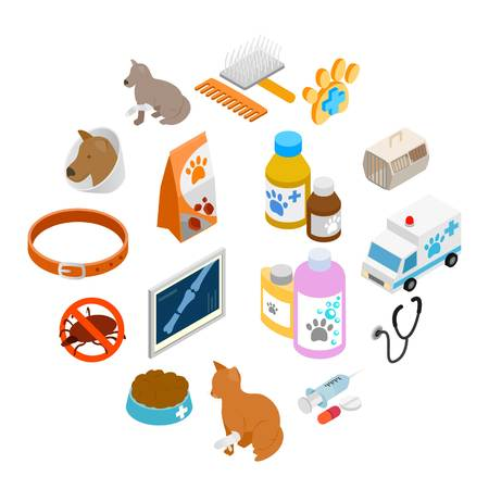 Veterinary icons set in isometric 3d style on a white background Standard-Bild - 112013253