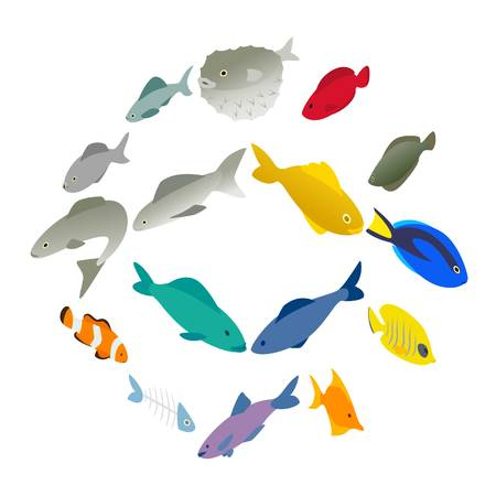 Fish icons set in isometric 3d style on a white background