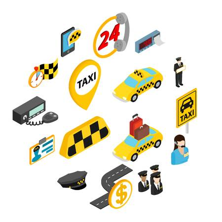 Taxi icons set in isometric 3d style isolated on white background