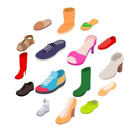 Shoes icons set in isometric 3d style. Footwear set isolated on white background Ilustração