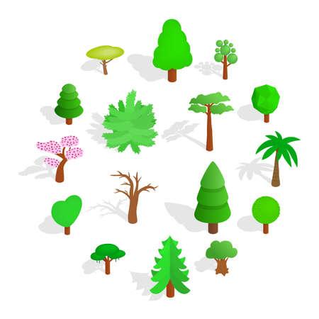 Tree icons set in isometric 3d style isolated on white background Illusztráció