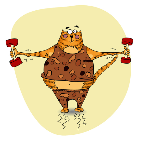cat suit: Ginger striped cartoon cat is lifting a weight dumbbells in a suit with leopard print. Sportsman cat