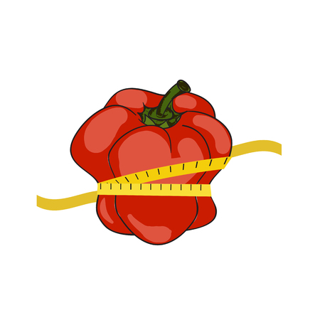 centimeter: Paprika pepper with tape centimeter