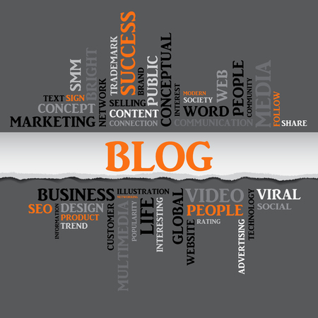 BLOG concept related words in tag cloud with different association internet and business terms. The effect of torn paper. Vector