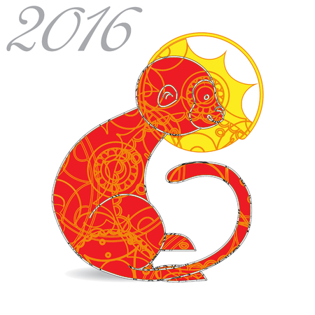 according: Illustration of fire monkey, a symbol of the year 2016 according to the Chinese horoscope and calendar. Vector Illustration