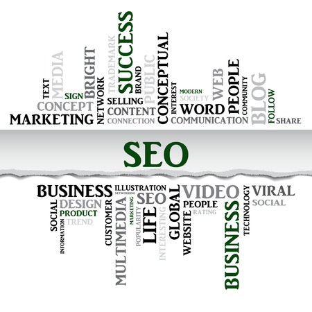 smm: SEO concept related words in tag cloud with different association internet and business terms. The effect of torn paper. Vector
