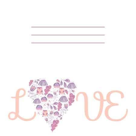 marriage bed: Illustration of a heart ornament doodles symbolizing love. Place for your text, for postcards, greetings, invitations. Hand-drawn vector graphics