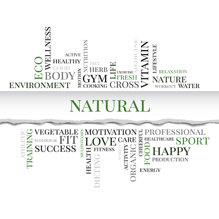 multivitamin: NATURAL concept related words in tag cloud with different association organic and healthy terms. The effect of torn paper. Vector