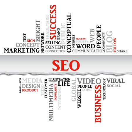 SEO concept related words in tag cloud with different association internet and business terms. The effect of torn paper. Vector
